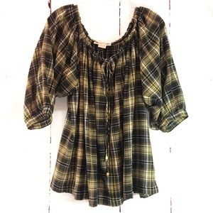 MICHAEL KORS | Gray & Yellow Plaid Boho Top L